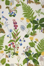 Wallpaper Yesenia Hand printed look Matt Leaves Flowers Fruits Dragonflies Cream Blue Green Light yellow Light grey Red