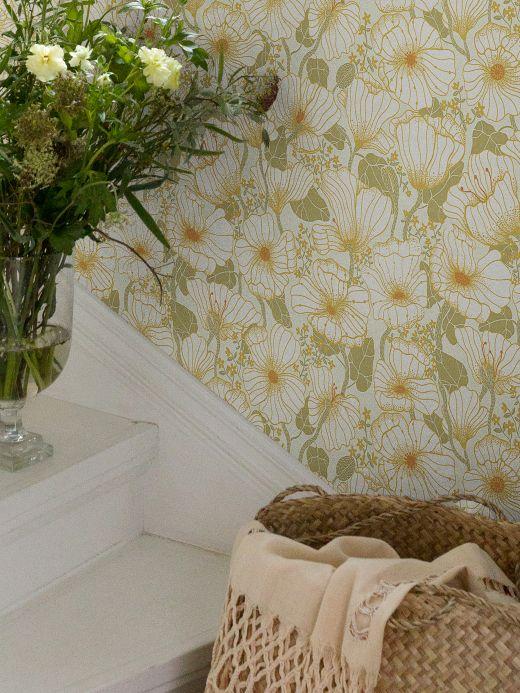 Papel de parede floral Papel de parede Ewa branco Ver ambiente