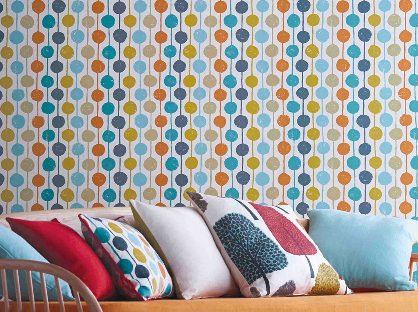 Wallpaper Almeda Cream Dark Grey Mint Turquoise Ochre Yellow Olive Yellow Orange Wallpaper From The 70s