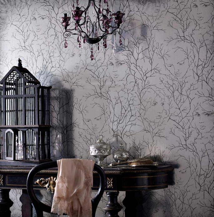 Archiv Wallpaper Wakanee black grey Room View