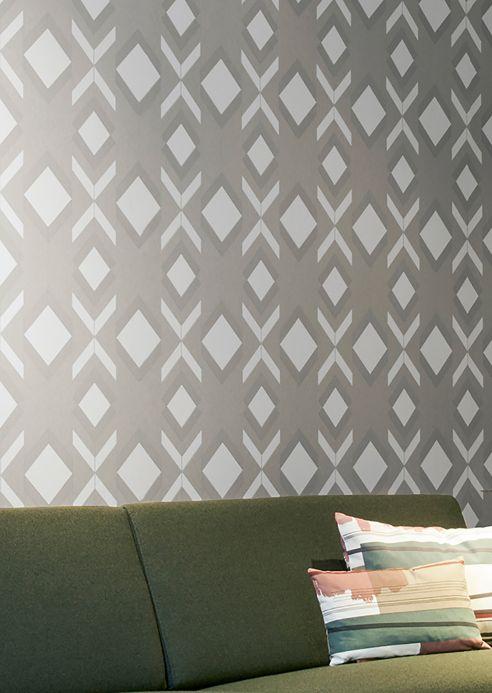 Papel de parede geométrico Papel de parede Allegra cinza sedoso Ver quarto