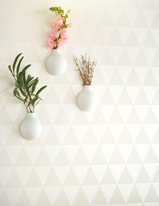 Papel de parede geométrico Papel de parede Eulan branco creme Ver quarto