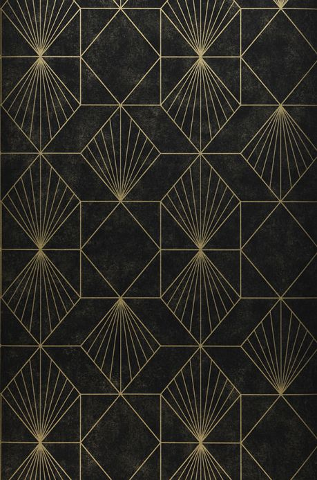 Papier peint géométrique Papier peint Maurus noir Largeur de lé