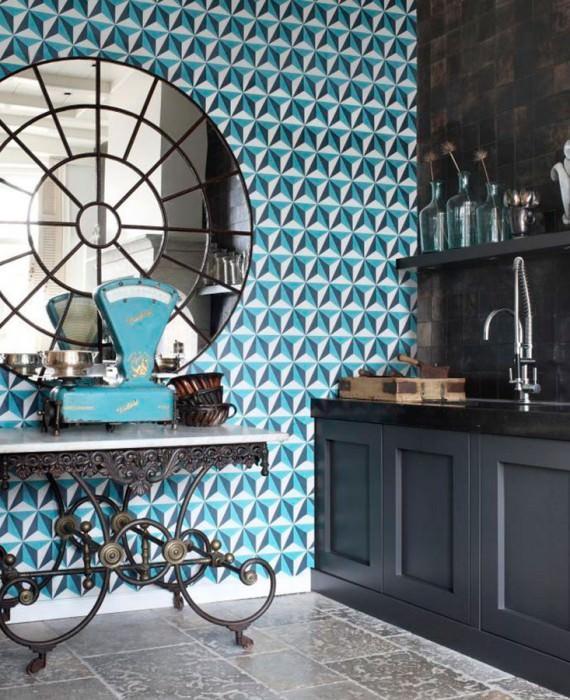 Papel de parede Limal Mate Elementos gráficos Branco creme Azul oceano Azul água