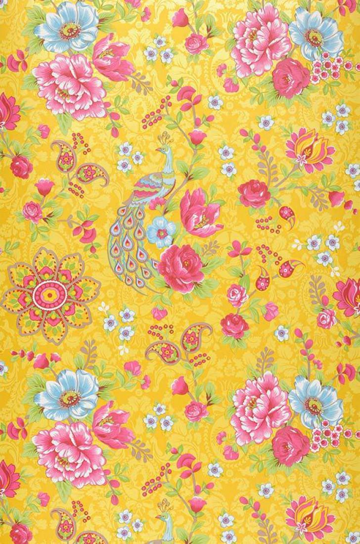 Ludmilla jaune or rouge fraise vert jaune bleu clair - Papiers peints des annees 70 ...
