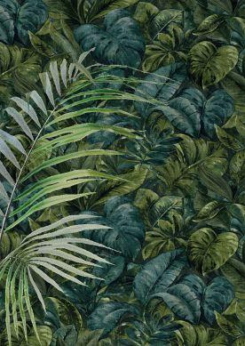 Papier peint Hirondelle tons de vert Raumansicht
