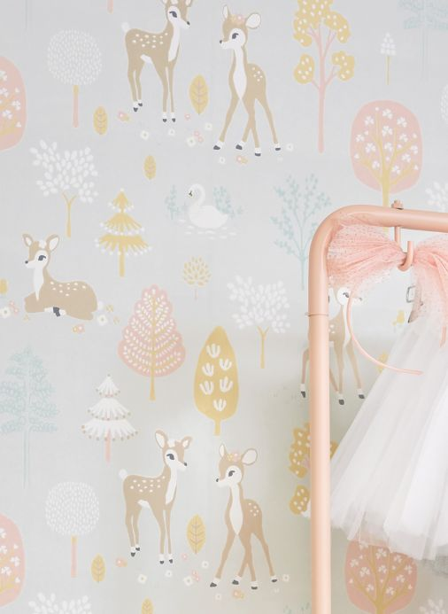 Majvillan Wallpaper Wallpaper Golden woods white grey Room View