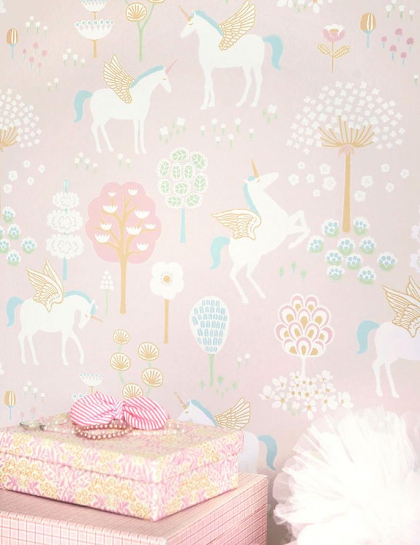 Wallpaper True Unicorns Hand Printed Look Matt Trees Flowers Pale Pink Cream Yellow Green Mint Room View
