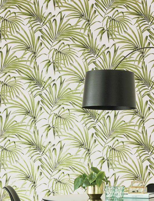 Floral wallpaper Wallpaper Almudena yellow green pearl lustre Room View