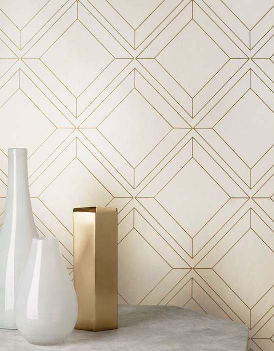 Wallpaper Malekid Shimmering pattern Matt base surface Graphic elements Cream Gold