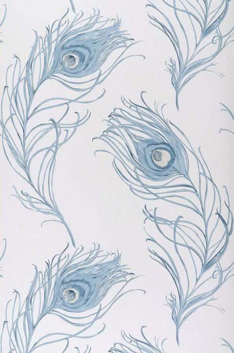 Wallpaper Serapis Matt Peacock feathers White Light blue Pastel blue