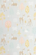 Wallpaper Golden woods Hand printed look Matt Trees Deer Butterflies Birds White grey Antique pink Pale brown Pale yellow Cream Mint turquoise