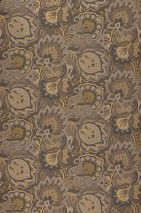Wallpaper Logobola Shimmering pattern Matt base surface Paisley pattern Stylised blossoms Grey brown Beige grey Gold Black