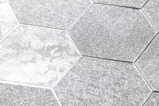 Wallpaper Hexagono Shimmering Hexagons Silver
