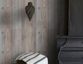 Papel pintado Beach Wood marrón grisáceo pálido