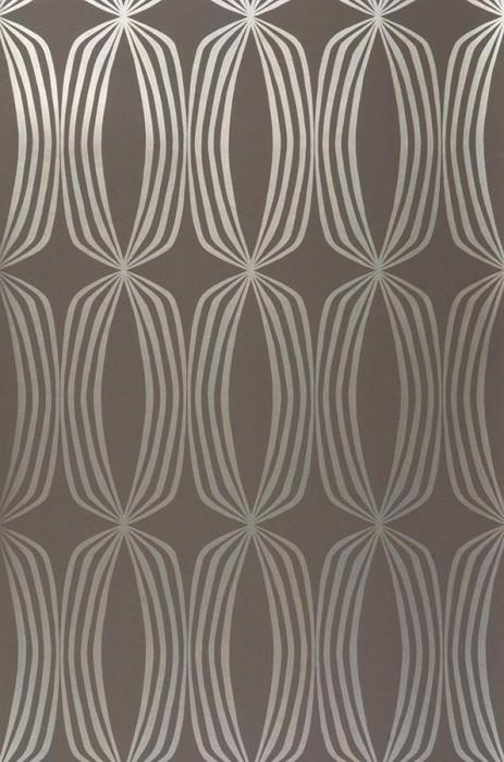 Papier peint Levana Motif chatoyant Surface mate Losanges Gris brun Doré