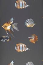 Carta da parati Servatius Opaco Pesci Grigio scuro Grigio antracite Marrone argilla Marrone ocra Blu perlato Marrone rossastro