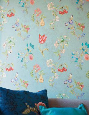 Papel de parede Mallorie turquesa pastel Ver quarto