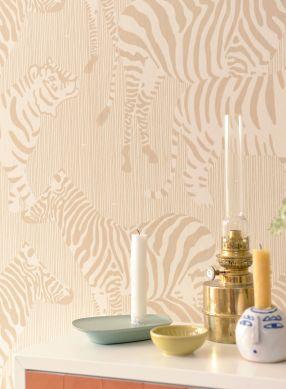 Wallpaper Safari Stripes pale brown Raumansicht