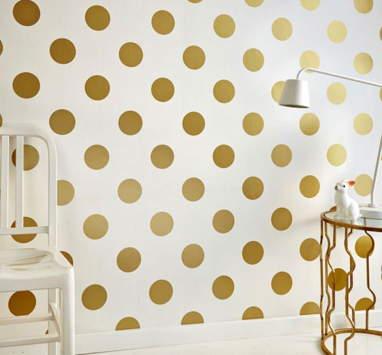 Geometric Wallpaper Wallpaper Teena gold shimmer Room View