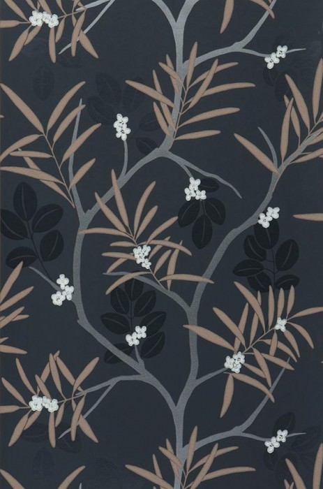 Wallpaper Pelias Matt Branches with leaves and blossoms Dark grey Beige Black Silver grey White