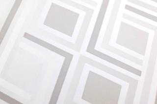 Wallpaper Iroko Matt Graphic elements Rhombuses Cream shimmer Grey tones White