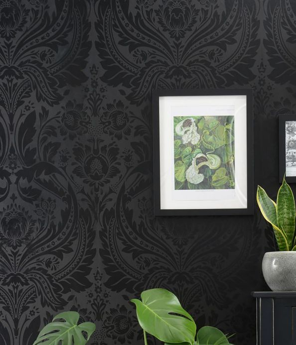 Baroque wallpaper Wallpaper Manus anthracite Room View