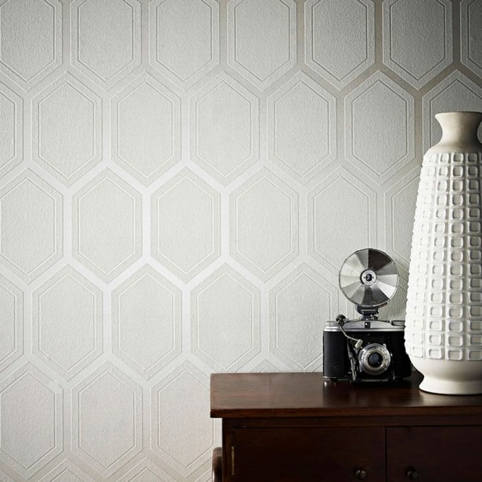 Wallpaper Pranas Matt pattern Shimmering base surface Hexagons Cream shimmer