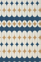 Tapete Yukina Matt Graphische Elemente Retro Design Ozeanblau Cremeweiss Perlgold
