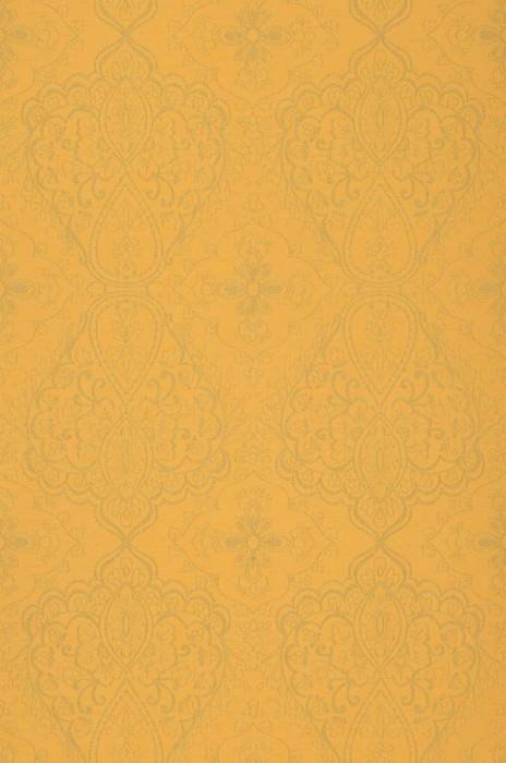Wallpaper Rosmerta Fine linen look Matt Oriental damask Golden yellow