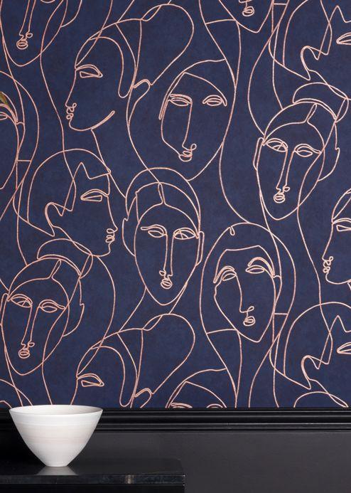 Papel pintado original Papel pintado Vertigo azul acero Ver habitación
