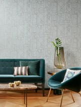 Wallpaper Arisa Shimmering pattern Matt base surface Art Deco Geometrical elements Light grey Pearl green