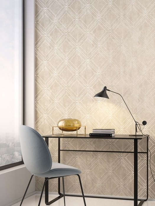 Wallpaper Malekid Matt Graphic elements Light beige Oyster white Cream