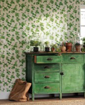 Wallpaper Tabea Matt Leaf tendrils Ivy Cream Green