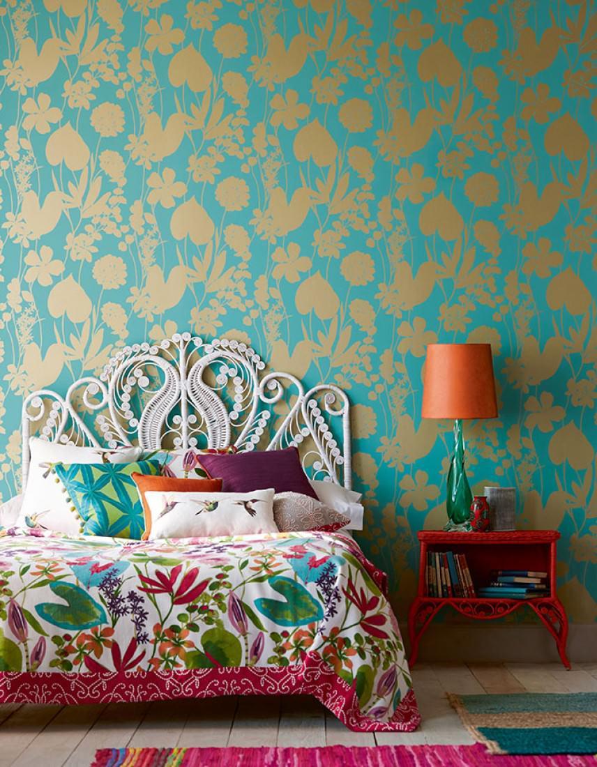 Jersey turquoise or nacr papier peint turquoise - Papier peint style annee 70 ...