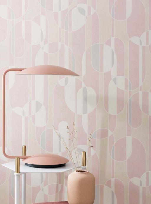 Papel pintado retro Papel pintado Asenio rosa claro Ver habitación