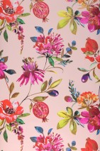 Wallpaper Candice Matt Branches with leaves and blossoms Pale pink Green Green yellow Pink Rosé shimmer Red