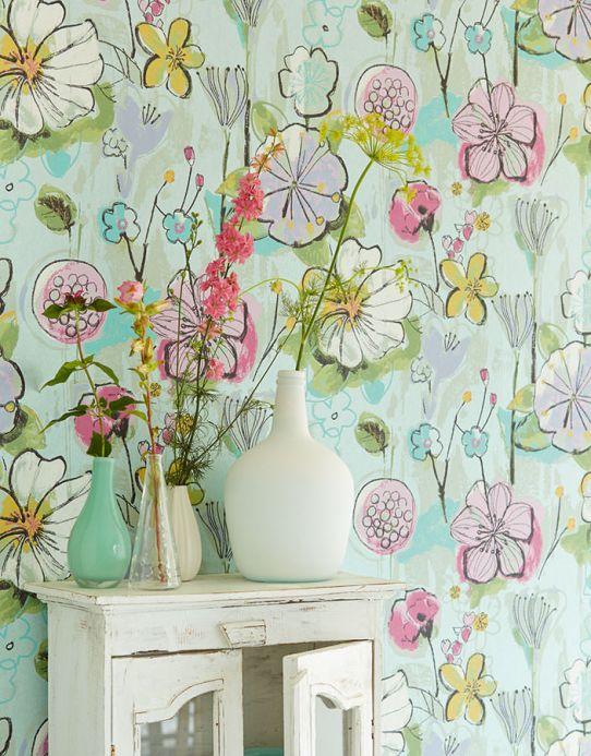 Archiv Papel pintado Larentia verde blanquecino Ver habitación