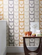 Wallpaper Ana Hand printed look Matt Shabby chic Stylised flowers Cream Agate grey Grey Pebble grey Pastel orange