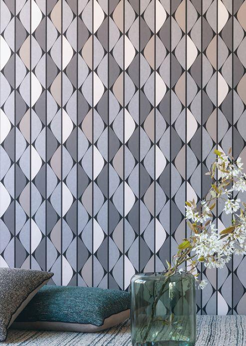 Papel pintado geométrico Papel pintado Evan tonos de gris Ver habitación