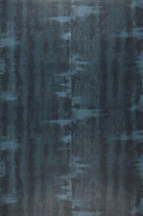 Wallpaper Fedon Shimmering Shabby chic Azure blue Ocean blue Black blue