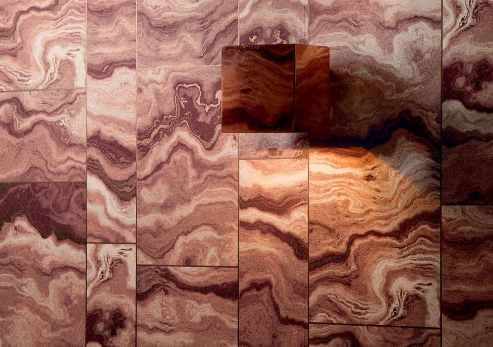 Wallpaper Medea Matt Imitation marmor Brown tones Bronze shimmer