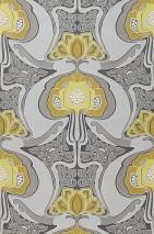 Wallpaper Tereza Matt Retro design Stylised flowers Black grey Beige grey Pale beige grey Curry yellow Light yellow White