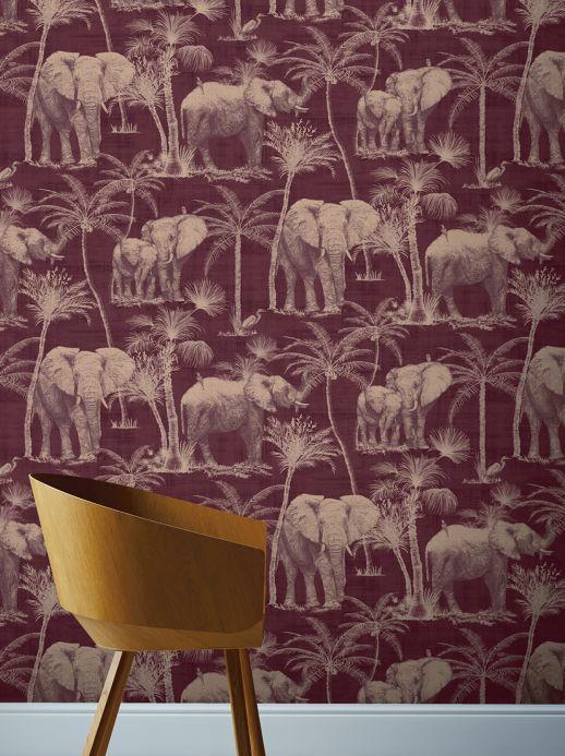 Papel pintado animales Papel pintado Raynor violeta burdeos pálido Ver habitación