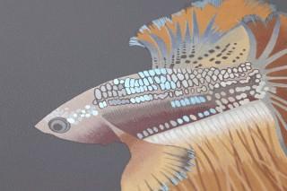 Wallpaper Servatius Matt Fishes Dark grey Anthracite grey Clay-brown Ochre brown Pearl blue Red brown