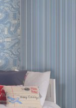 Wallpaper Severin Matt Stripes Blue white Grey blue Light blue Light grey blue Silver shimmer