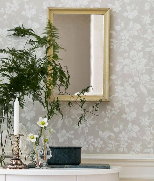 Papel pintado Amitola Efecto impreso a mano Mate Flores zarcillos Beige grisáceo claro Marfil claro Gris blancuzco