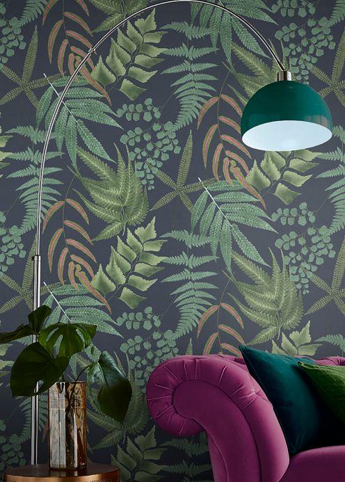 Papel de parede botânico Papel de parede Delano tons de verde Ver ambiente