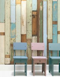 Papel de parede Scrapwood 03 azul claro