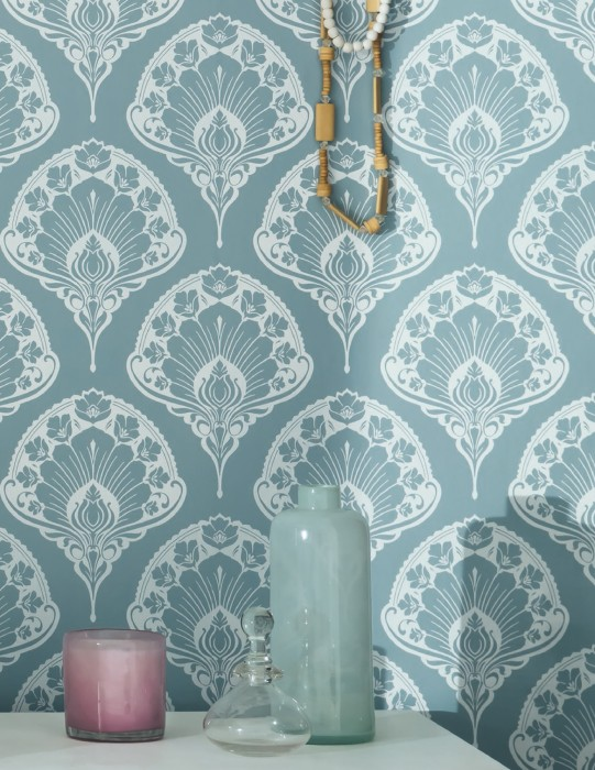 Wallpaper Tiana Matt Floral damask Pastel turquoise White